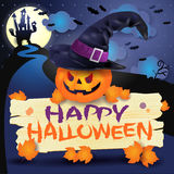 Halloween-achtergrond met pompoen, teken en hoed Royalty-vrije Stock Afbeeldingen