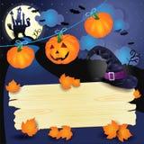 Halloween-achtergrond met pompoenen en houten teken Royalty-vrije Stock Fotografie