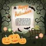 Halloween-achtergrond met pompoenen, spinnen, knuppels, heksenhoed en suikergoed Royalty-vrije Stock Afbeeldingen