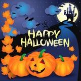 Halloween-achtergrond met pompoenen, tekst en kasteel Stock Foto