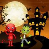 Halloween-achtergrond met rode duivel en frankenstein royalty-vrije illustratie