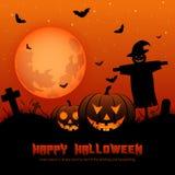 Halloween-achtergrond met silhouetten Stock Fotografie