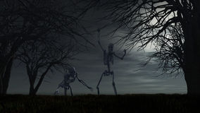 Halloween-achtergrond met skeletten Royalty-vrije Stock Afbeeldingen