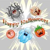 Halloween-Achtergrond met Vlakke Pictogrammen Vector illustratie De truc of behandelt Concept royalty-vrije illustratie