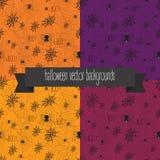 Halloween-achtergrond met Web en spinnen Vector Illustratie