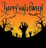 Halloween-achtergrond met zombieënhand en knuppel Stock Foto's