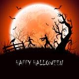 Halloween-achtergrond met Zombie Royalty-vrije Stock Fotografie