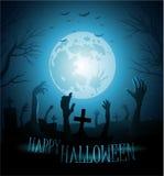 Halloween-achtergrond met zombieën en de maan Stock Foto
