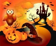 Halloween-achtergrond in sinaasappel Stock Foto