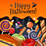 Halloween-achtergrond van de snoepjes de kleurrijke partij Royalty-vrije Stock Foto