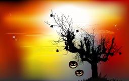 Halloween-achtergrond - vernietigde begraafplaats in volle maan Royalty-vrije Stock Fotografie