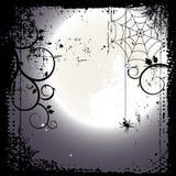 Halloween-achtergrond. Volle maan en een spinneweb Royalty-vrije Stock Fotografie