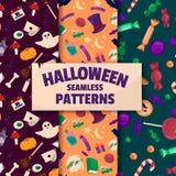 Halloween-achtergronden Reeks naadloze patronen Royalty-vrije Stock Foto