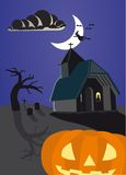 Halloween achtervolgde pompoen Stock Foto