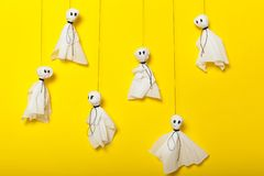 Halloween activities craft, scary ghosts composition for kids stock photography