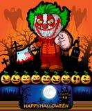Halloween-Affiche met clown die een mes houden Vector illustratie Stock Afbeeldingen