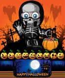 Halloween-Affiche met een jongen in een kostuumskelet Vector illustrat Stock Fotografie