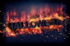 Halloween-affiche met het branden van hete vlammen royalty-vrije stock afbeeldingen