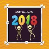 2018 Halloween-Affiche met het Grappige griezelige ontwerp van de beeldverhaalschedel royalty-vrije illustratie