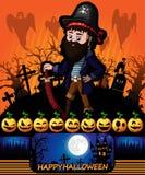 Halloween-affiche met moordenaar met piraat Vector illustratie Stock Foto's