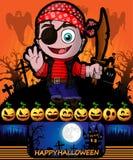 Halloween-affiche met moordenaar met piraat Vector illustratie Stock Afbeeldingen