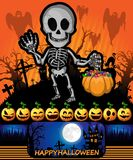 Halloween-Affiche met skelet Vector illustratie Stock Fotografie