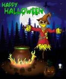 Halloween-affiche met vogelverschrikker in bos Vectorillustratie Stock Afbeelding