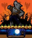 Halloween-Affiche met weerwolf Vector illustratie Stock Foto's