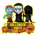 Halloween-afficheontwerp met vectorvampier, zombie, donker maaimachinekarakter vector illustratie