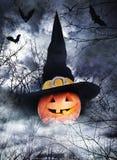 Halloween affisch med pumpa i häxahatt Fotografering för Bildbyråer