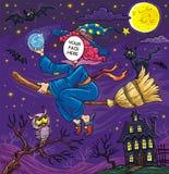 Halloween affronta nella strega di volo del foro con il gatto nero, i pipistrelli ed il gufo Fotografie Stock