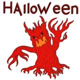 Halloween aggressive evil tree. With branches as a hands, cartoon vector design elements in red and yellow colors Stock Photos