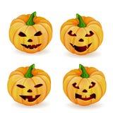 Halloween ajustou-se com abóboras Imagens de Stock Royalty Free