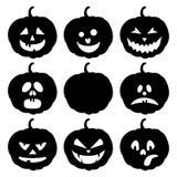 Halloween ajustou-se com abóboras Imagem de Stock Royalty Free