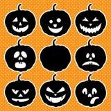 Halloween ajustou-se com abóboras Imagem de Stock