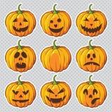 Halloween ajustou-se com abóboras Foto de Stock