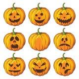 Halloween ajustou-se com abóboras Fotografia de Stock Royalty Free