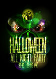 Halloween all night party poster with green evil beast and red eyes Royalty Free Stock Image