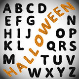 Halloween alphabet. ABC. Halloween alphabet. Black letters with spider web on them. Can be used for stickers, labels Royalty Free Stock Photo