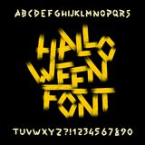 Halloween alphabet font. Dirty letters, numbers and symbols. Royalty Free Stock Photos