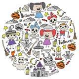 Halloween als thema gehade krabbelreeks Traditionele en populaire symbolen - gesneden pompoen, partijkostuums, heksen, spoken, mo royalty-vrije illustratie