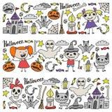 Halloween als thema gehade krabbelreeks Traditionele en populaire symbolen - gesneden pompoen, partijkostuums, heksen, spoken, mo stock illustratie