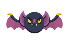 Halloween angry bat with open wings in cartoon and flat icon style for festive design Royalty Free Stock Photos