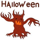 Halloween angry evil twisted tree. Halloween angry evil twisted red tree with branches as a hands, cartoon vector design elements Stock Photo