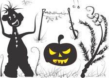 Halloween. An angry Halloween pumpkin and bogie stock illustration