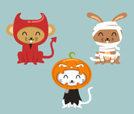 Halloween animals in cartoon costumes 2 Royalty Free Stock Photography