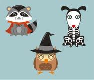 Halloween animals in cartoon costumes royalty free illustration