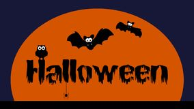 A Halloween animation with bat owl and spider - animation stock video