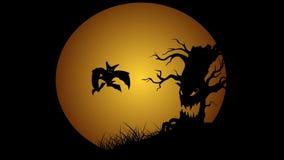 Halloween animation with moon evil spooky scary horror tree and bats. Cartoon background vector illustration