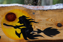 Halloween-Anleitungzeichen mit Hexe Lizenzfreies Stockbild